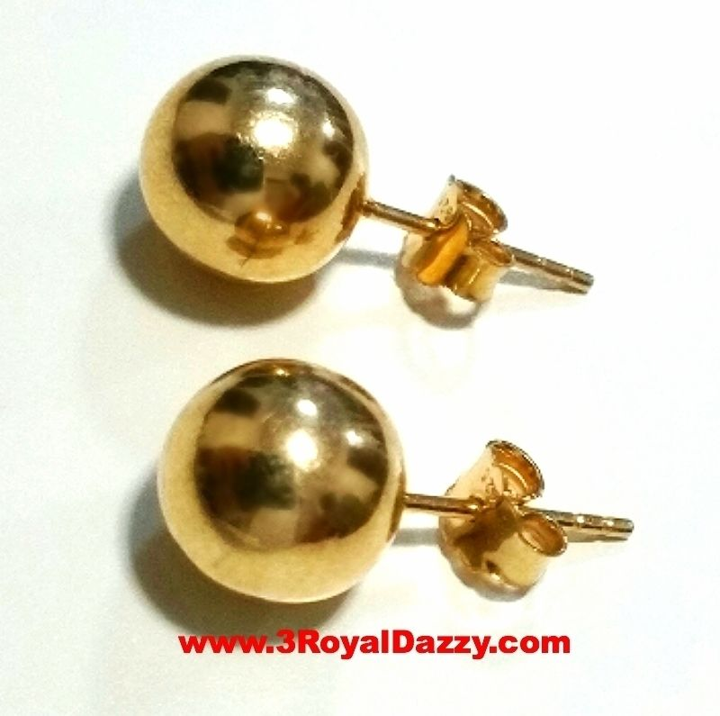 14k Yellow gold layer on 925 Sterling Silver Full Round Ball Stud Earring 8 mm - 3 Royal Dazzy