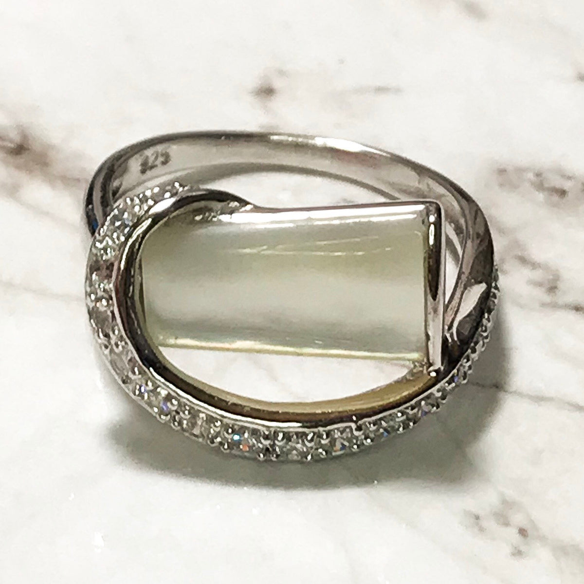 NEW 14k White Gold Layered on Sterling Silver Rectangular Shiny White Stone Ring