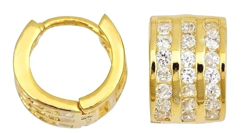 14k Y. gold layer Brilliance three row Channel set CZ Hoop Huggie Earring Solid - 3 Royal Dazzy