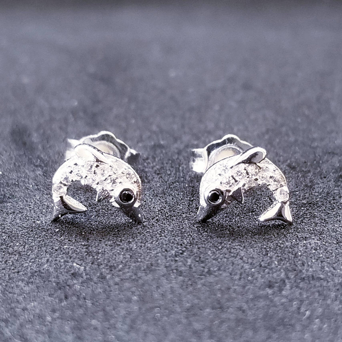 New 14K White Gold on 925 Sterling Silver Small Shiny Dolphin Earrings