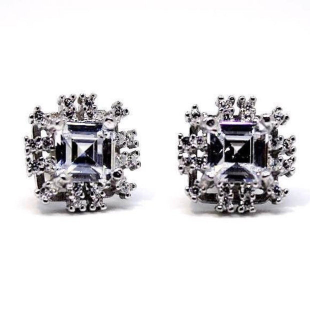 Gorgeous 14k White Gold on 925 Silver Earrings