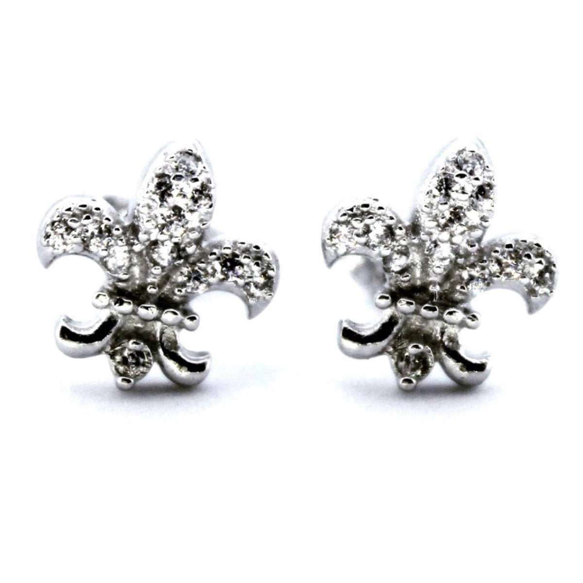 14k white gold layered on 925 Sterling Silver Anchor Earrings - 3 Royal Dazzy