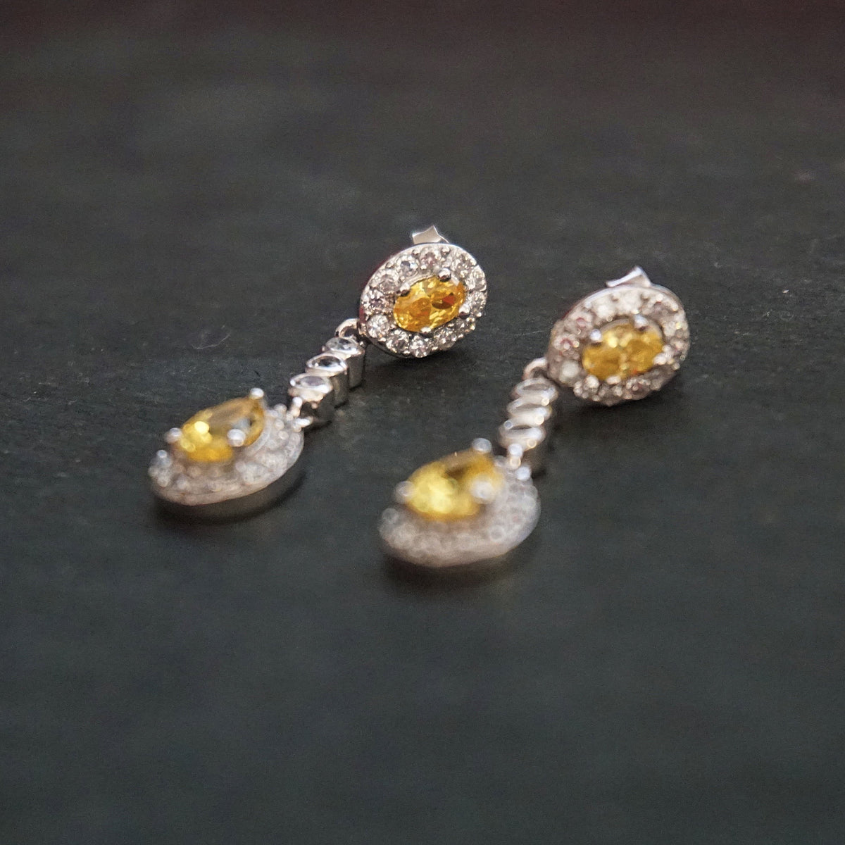 New 14k White Gold on 925 Sterling Silver Yellow Teardrop Elegant Drop CZ Earrings ( 8 . 6  mm )