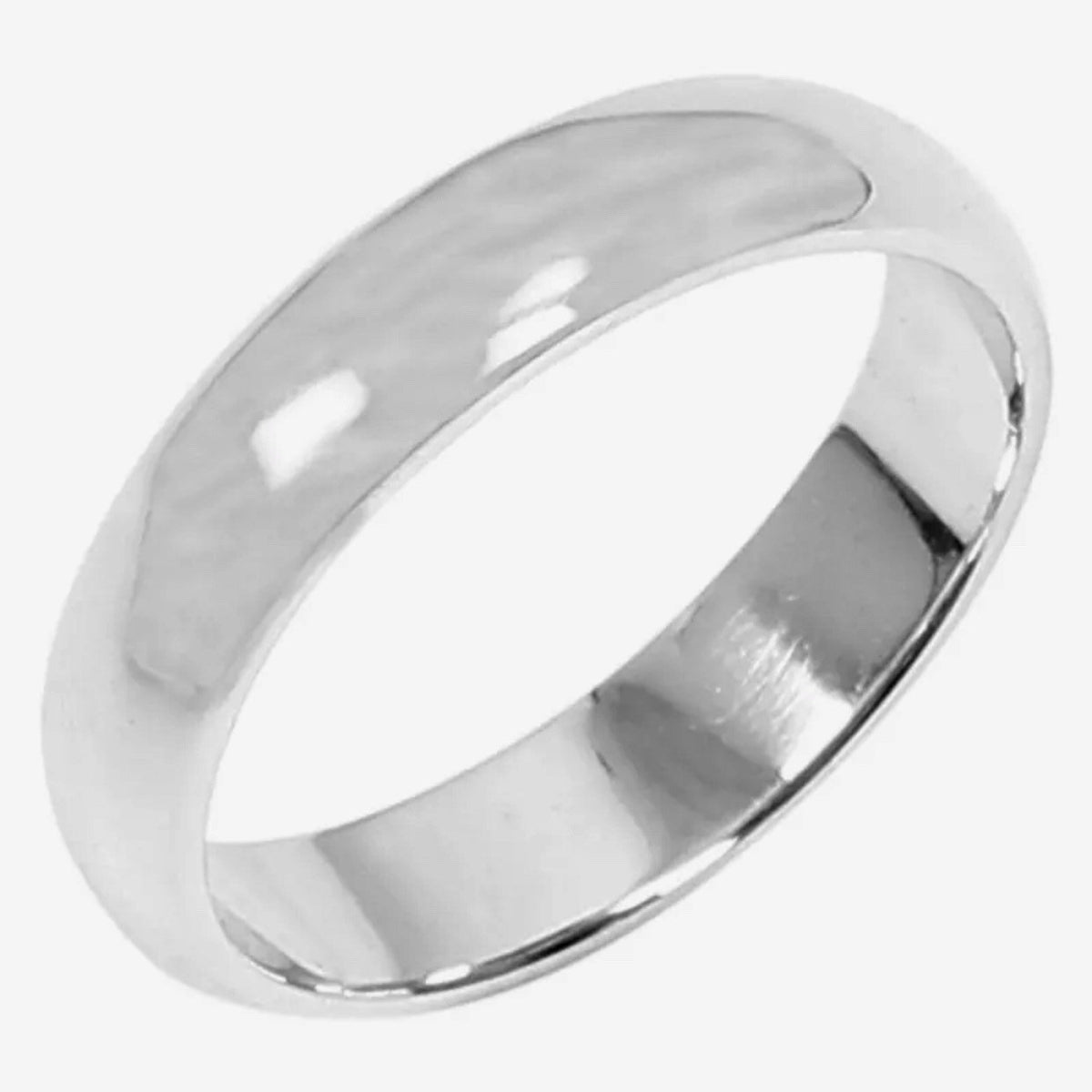 5 . 6mm Size 6 . 75- Handmade solid 990 Silver high polished glossy plain wedding Ring Band