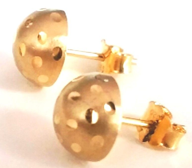 14k Yellow gold layer 925 Sterling Silver Half Round Flat Ball Stud Earring 8 MM - 3 Royal Dazzy