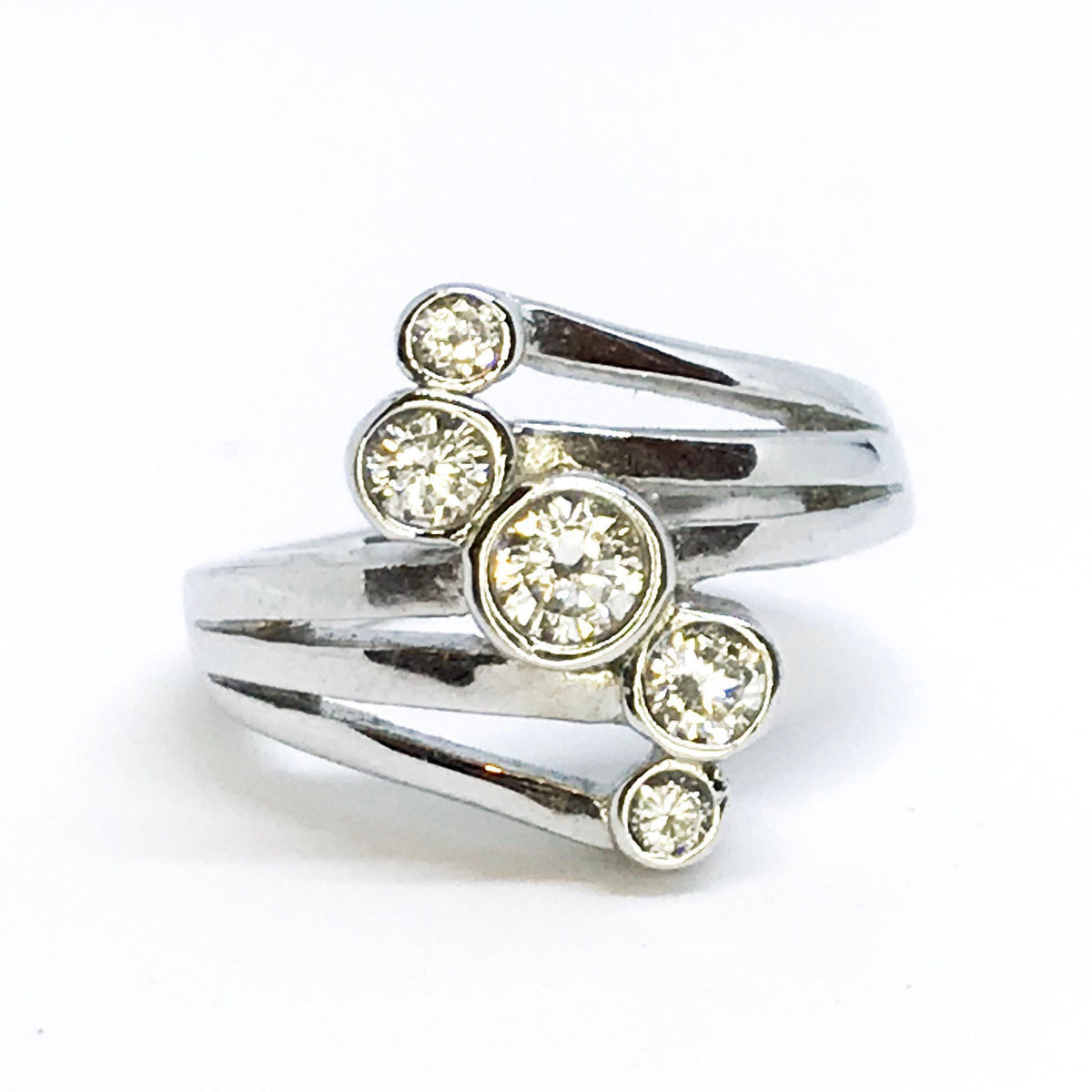 NEW 14K White Gold Layered on Sterling Silver Swirled Circle Stones Ring