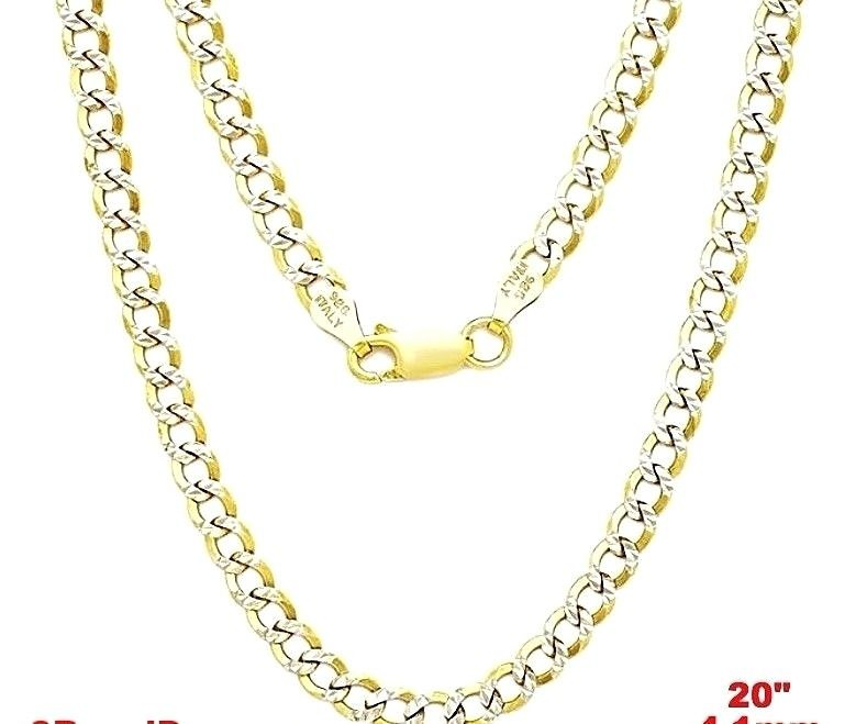 Italy diamond cut 14k white & yellow gold layered over 925 silver 4 1mm  Curb 20