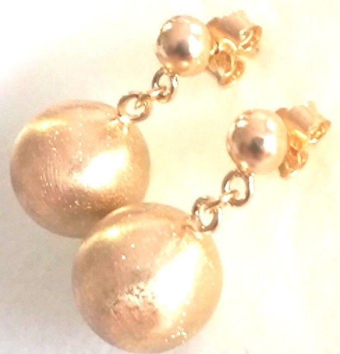 14k gold on 925 Sterling Silver Round Dangling Ball on Ball Stud Earrings 12 MM - 3 Royal Dazzy