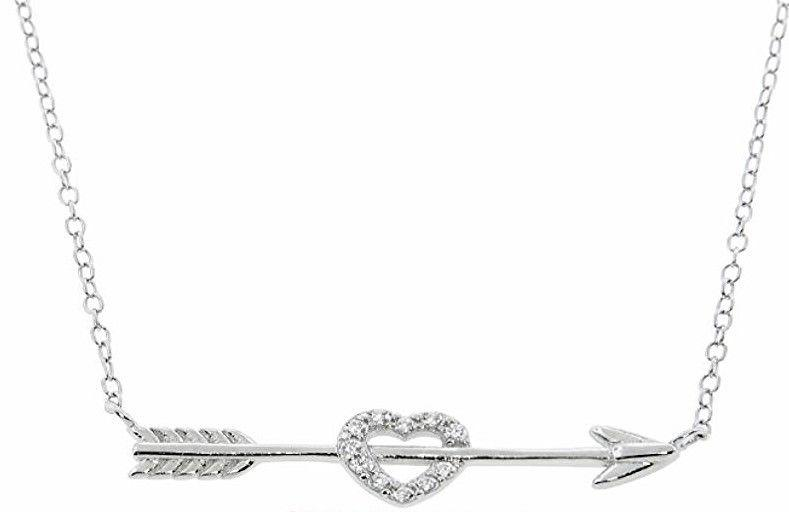 14k gold layer Eternally Haute Sterling Silver Pave Cupid Heart & Arrow Necklace - 3 Royal Dazzy
