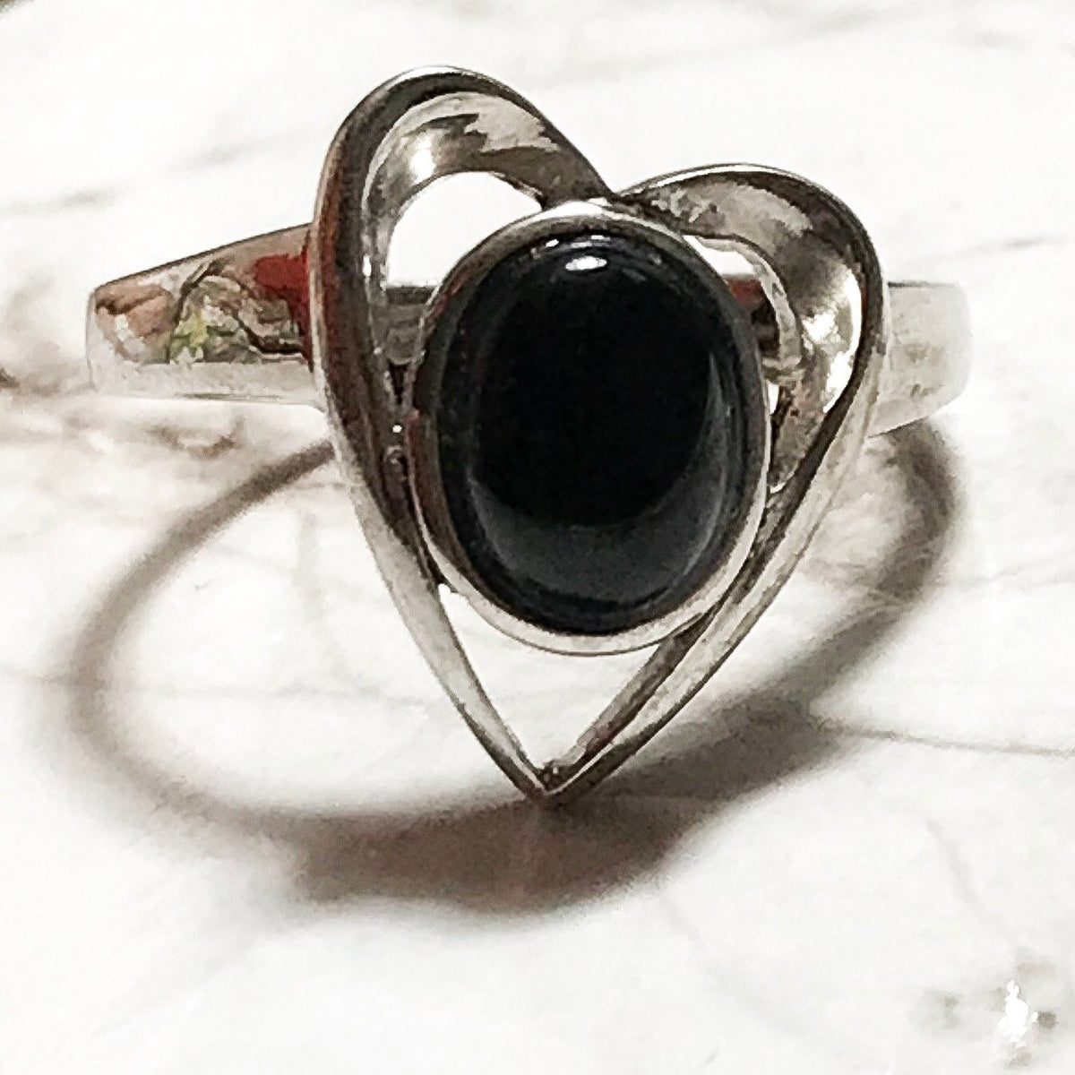 NEW 14K White Gold Layered on Sterling Silver Heart with Black Stone Ring