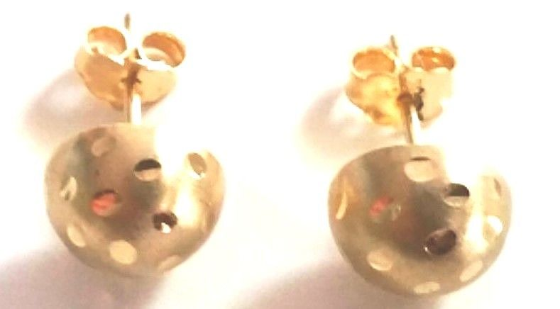 80e931e1c598f 14k Yellow gold layer 925 Sterling Silver Half Round Flat Ball Stud Earring  6 MM