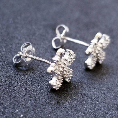 New 14K White Gold on 925 Sterling Silver Cute Flower CZ Stones Earrings