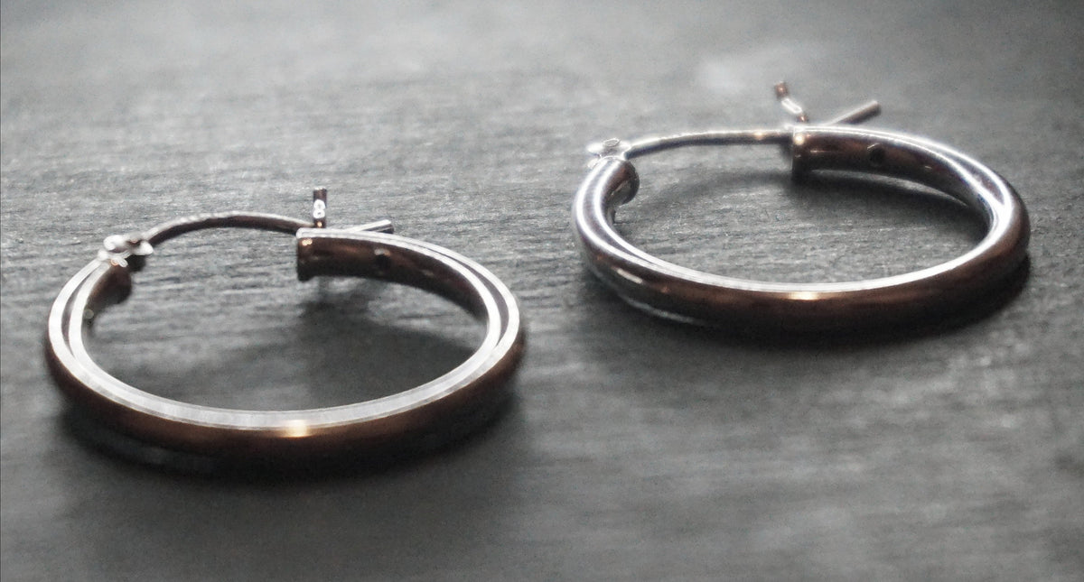 New Handcrafted 925 Sterling Silver Reflective Small Simple Hoop Earrings (19.8 mm)