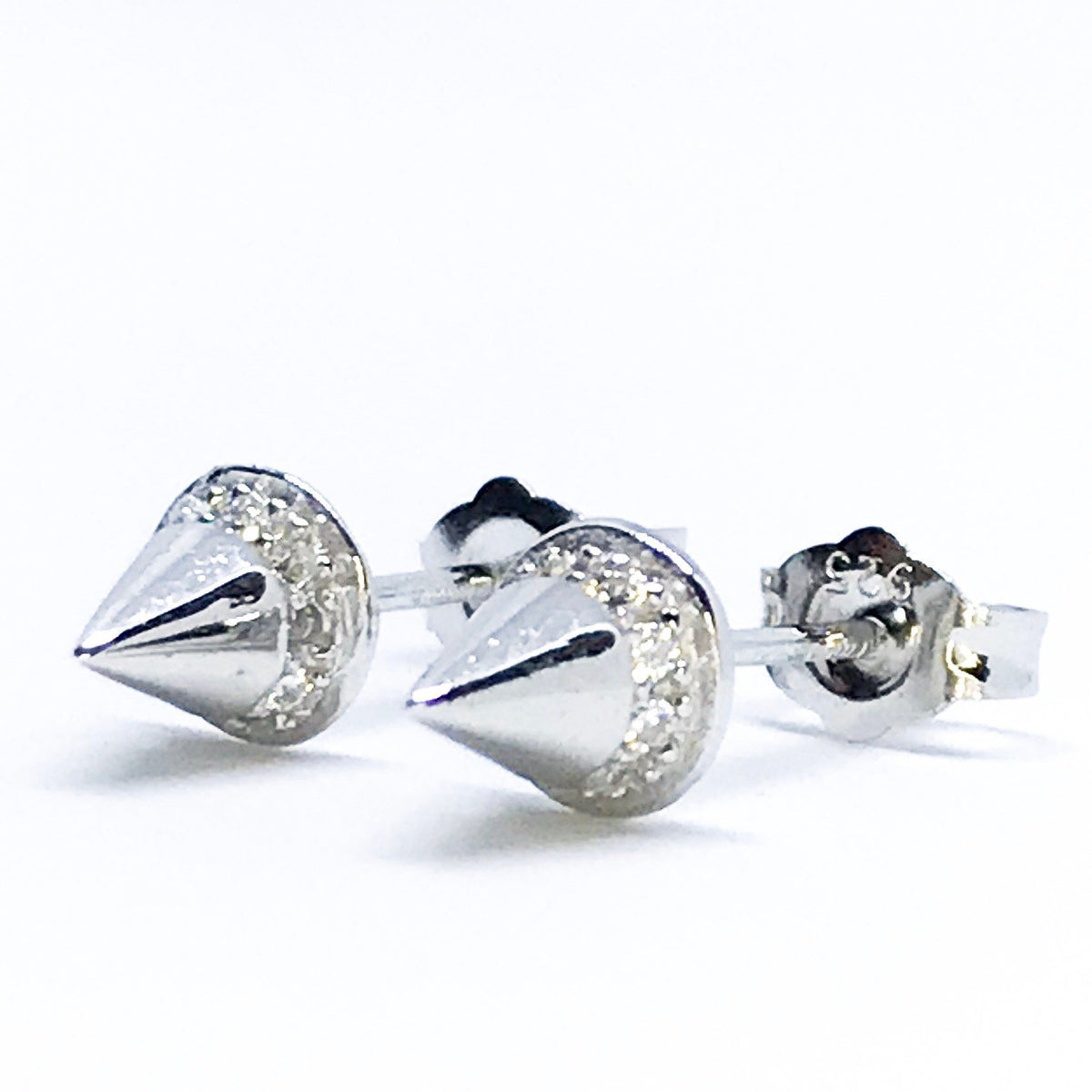 NEW 14k White Gold Layered on Sterling Silver Sharp Point Earrings