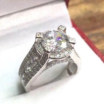 New Royal Dazzy Exclusive 4.0ct Round Cubic Zirconia Engagement Wedding ring S-6