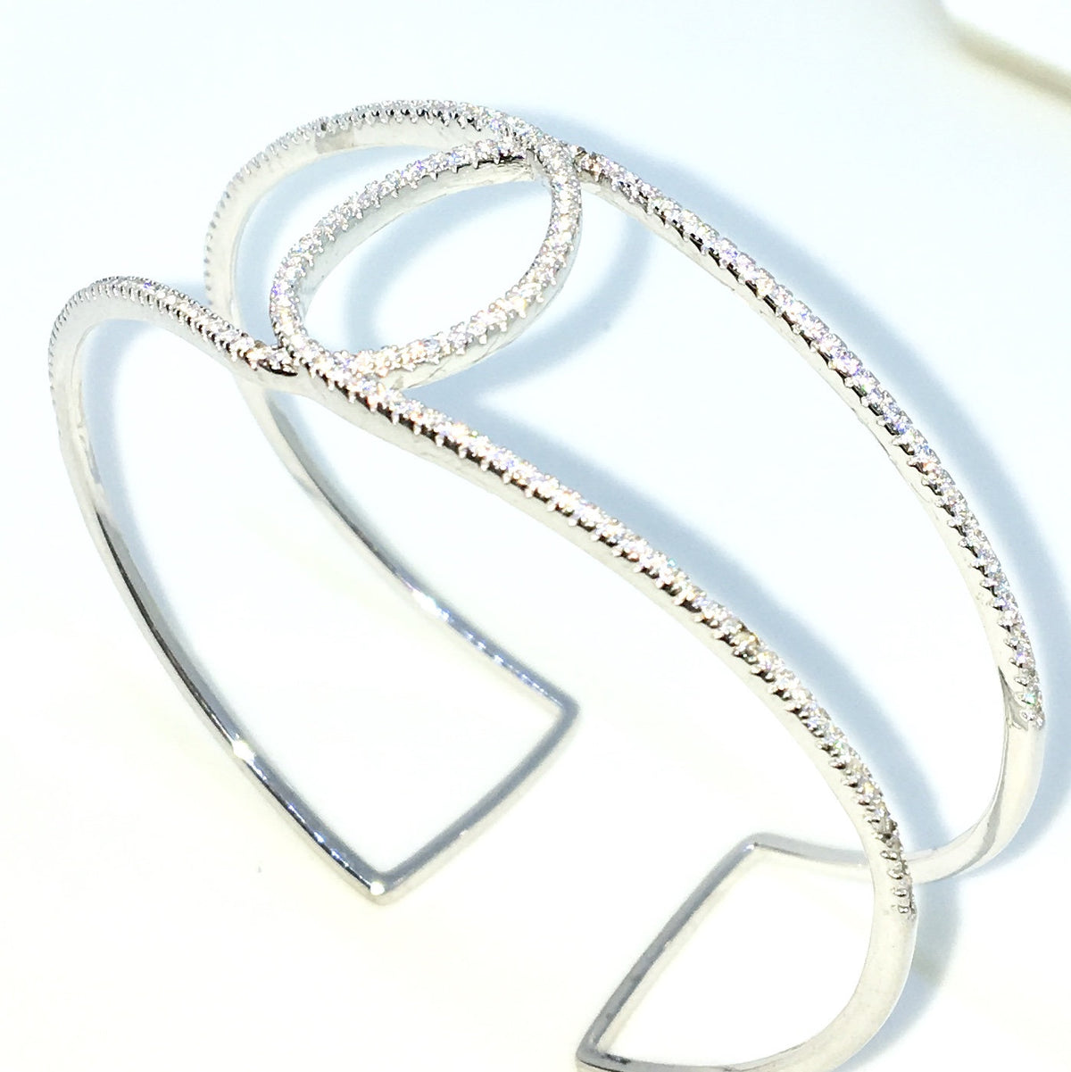 8571d7c298f New White Gold Layered on 925 Solid Sterling Silver Bangle Bracelets O – 3  Royal Dazzy