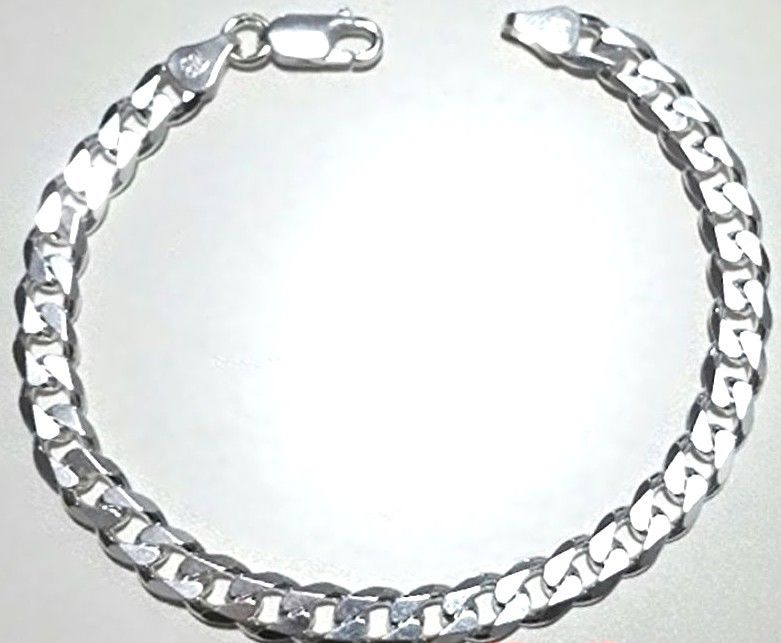 Men Women Children Sterling Silver Italian Cuban Curb Link Bracelet - 6.5 mm 8""