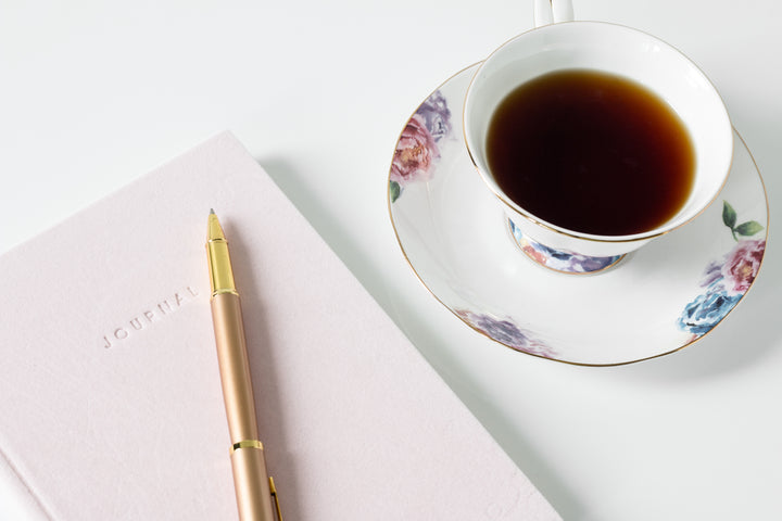 gratitude journal and tea