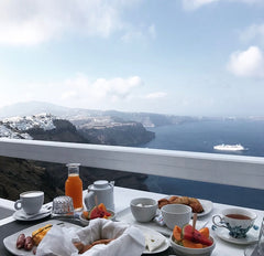 amity created teacup, breakfast in santorini