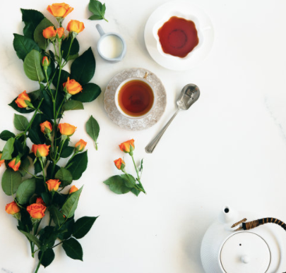 tea and teacup with flowers