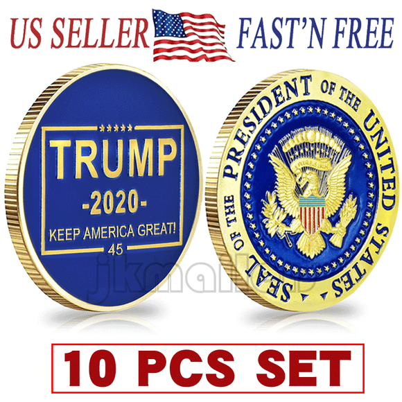10 PCS Donald Trump 2020 Keep America Great! Presidential Seal Challenge Coin