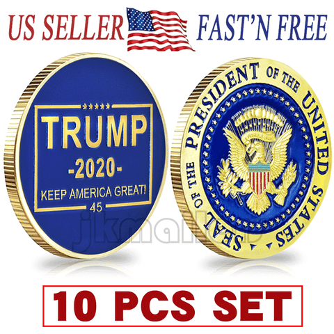 10 PCS Donald Trump 2020 Keep America Great! Presidential Seal Challenge Coinwholesale