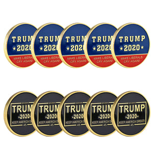 10PCS Trump 2020 Make Liberals Cry Again! Keep America Great! Gold Challenge Coin