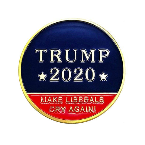 10PCS Trump 2020 Make Liberals Cry Again! Keep America Great! Gold Challenge Coin wholesale