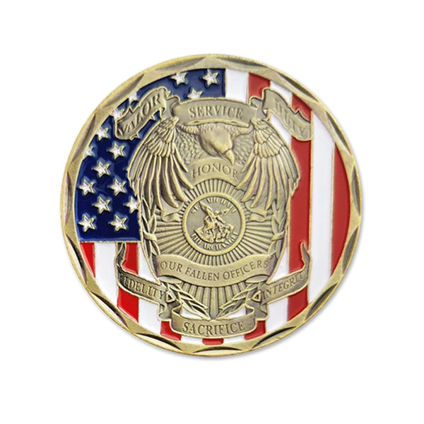 St Michael Police Officer Badge Challenge Coin Honor Our Fallen Officers Coins