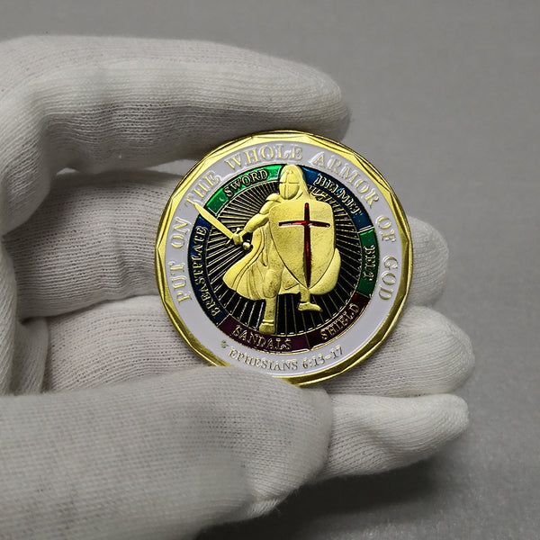 Put On The Whole Armor Of God of Navy Patron Saint Challenge Coin