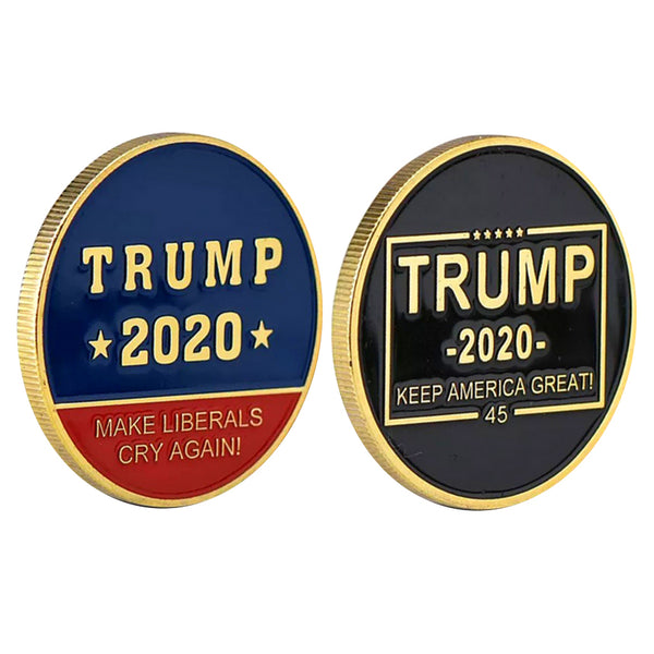 Trump 2020 Make Liberals Cry Again! Keep America Great! Gold Challenge Coin