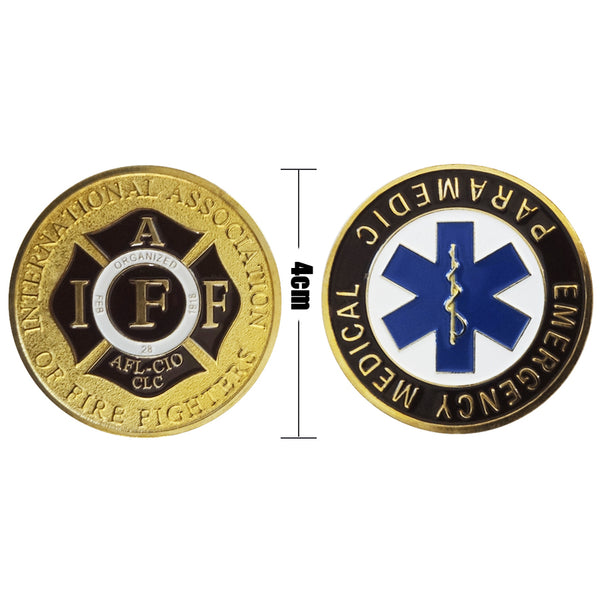 Emergency Medical Paramedic Patron Saint Challenge Coin Gold US Store