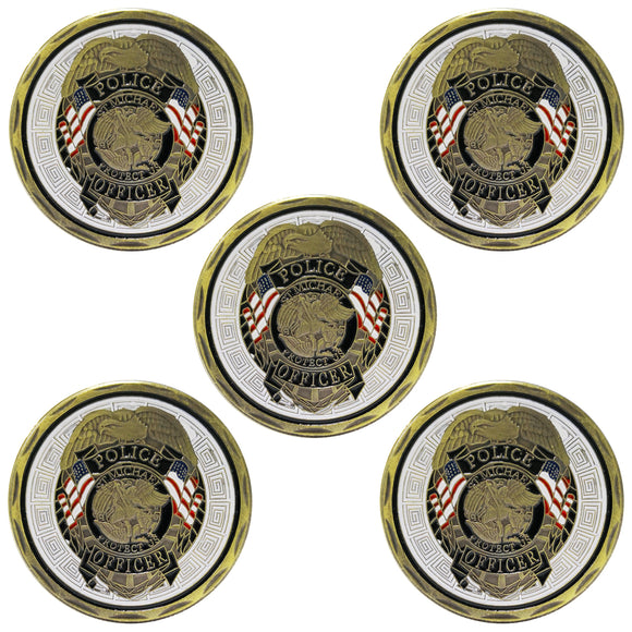 5PCS St Michael Police Officer Badge Law Enforcement Challenge Collectible Coin