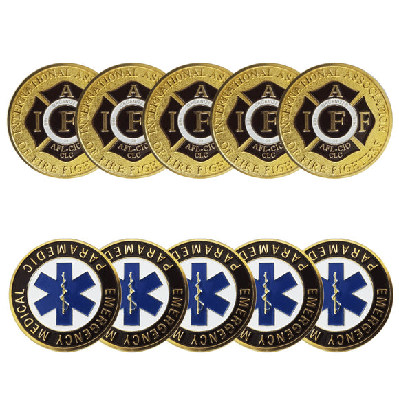 10PCS Emergency Medical Paramedic Patron Saint Challenge Coin wholesale Gold US Store