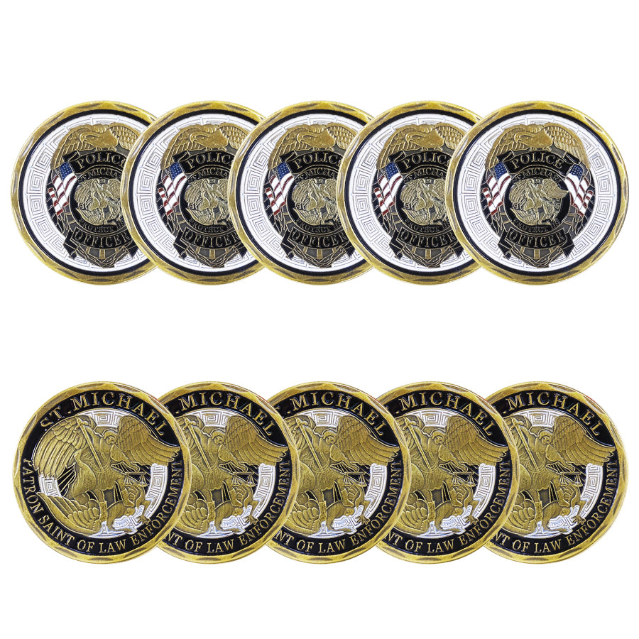10 PCS St Michael Police Officer Badge Law Enforcement Challenge Collectible Coin wholesale