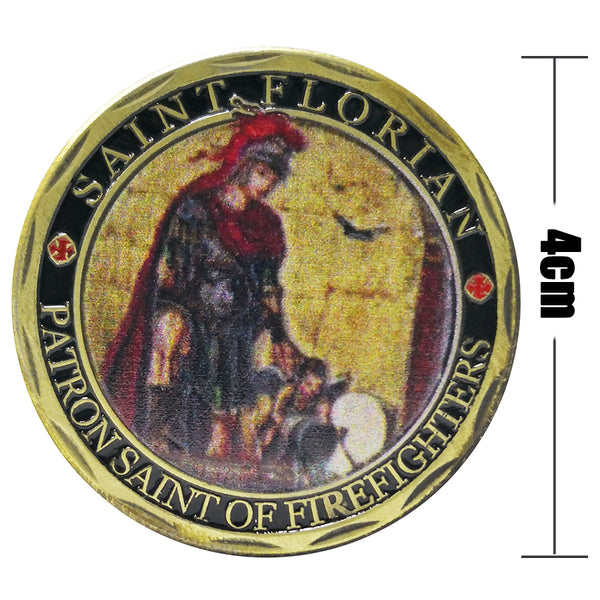 5 PCS ST Florian Patron Saint of Firefighters Fire Department Challenge Coin wholesale