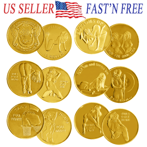 【Discount promotion】6PCS Good Luck Heads Tails Gold Token Challenge Coins Sexy Girl Gift For Man
