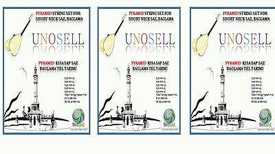 3 X PYRAMID  STRINGS SET FOR TURKISH STRING INSTRUMENT SHORT NECK SAZ  0.18MM - unosell music instruments