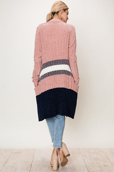 Chenille Color Block Cardigan