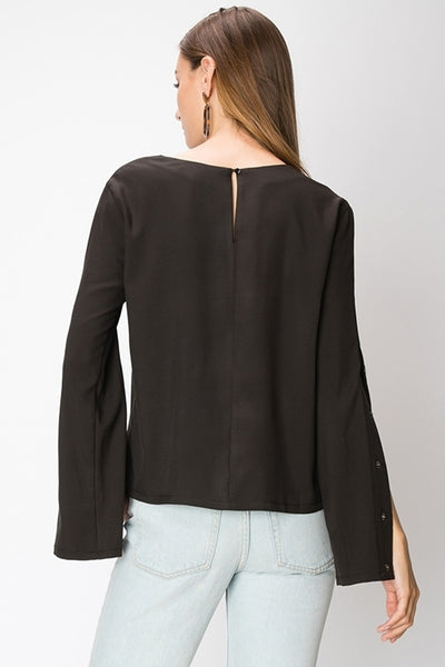 Button Snap Sleeve Top