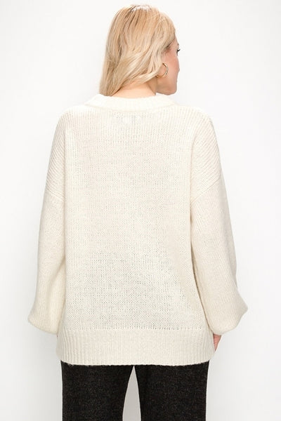 High Neck Bell Sleeve Sweater