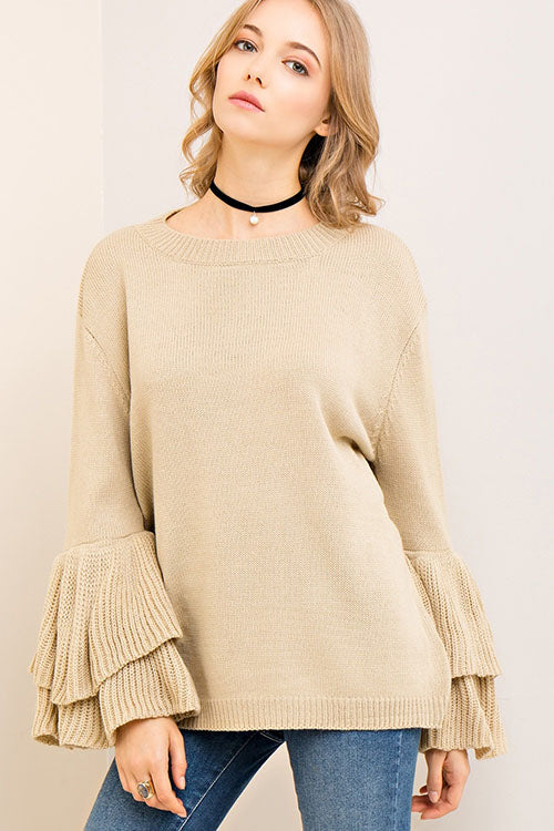 Scoop Neck Sweater with Bell Sleeves