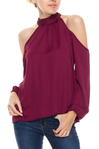 High Tie Neck  with Open Shoulder Blouse