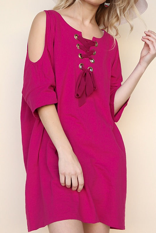 Open Shoulder Dress with Ribbon Lace Up