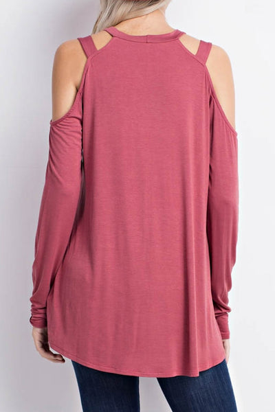Cold Shoulder Top with Cutouts
