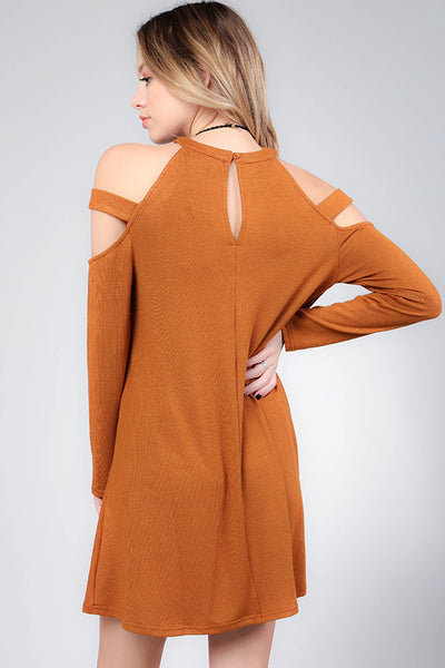 Cold Shoulder Long Sleeve Dress with Strap