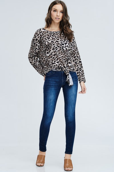 Leopard Print Top with Front Tie