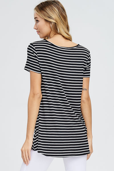 Striped Top with Front Gather Twist