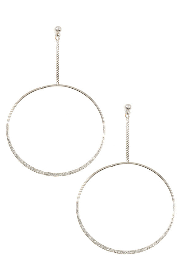 Textured Drop Circle Earrings
