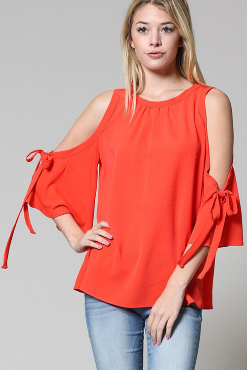 Coral Bell Sleeve Cold Shoulder Top